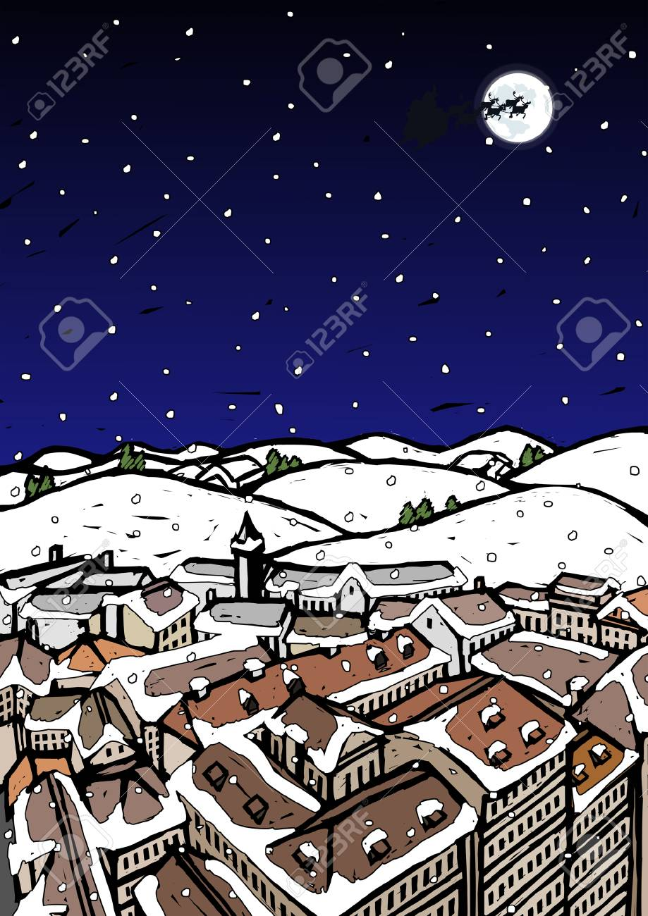 High angle view of snow covered houses in a town and silhouette