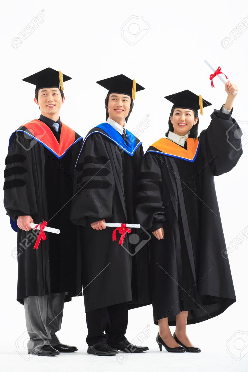 2ce2621ada7 Stock Photo - Two Asian men and a woman with graduation clothes and a  graduation hat in the studio