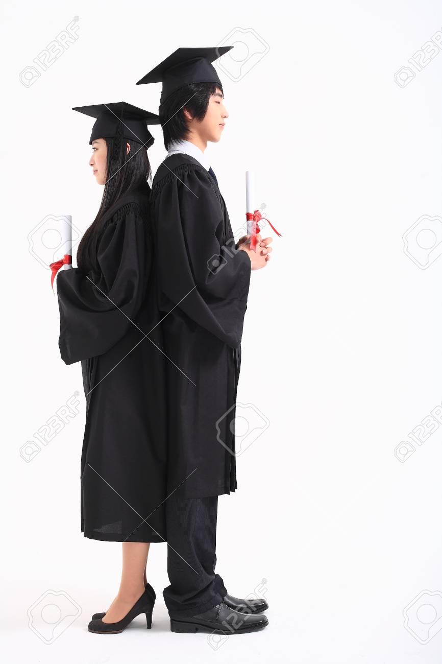Eine Asiatische Frau Und Ein Mann Mit Einem Abschluss Hut Und