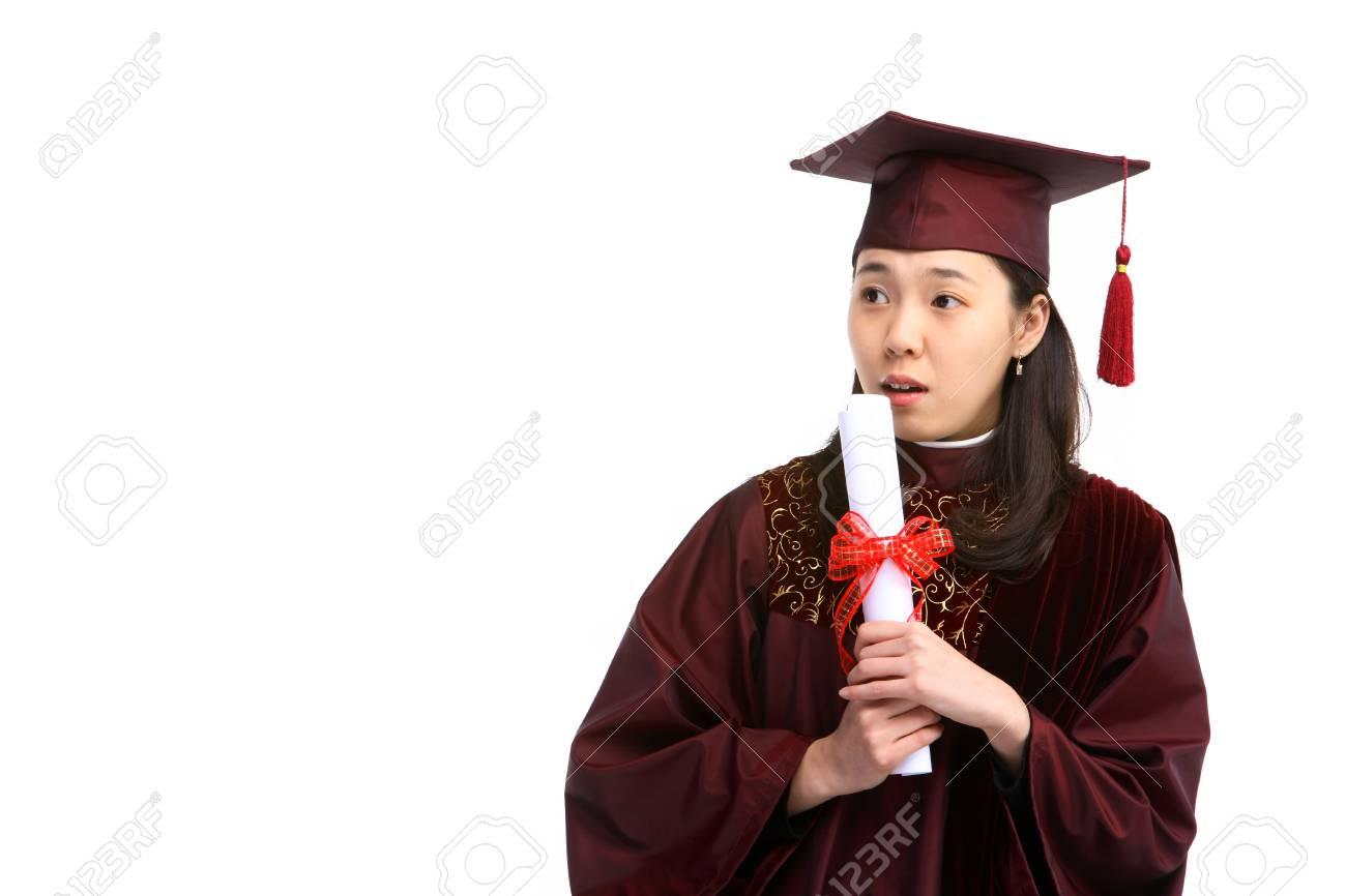 Eine Asiatische Frau Mit Einem Abschluss Hut Und Kleidung Im Studio