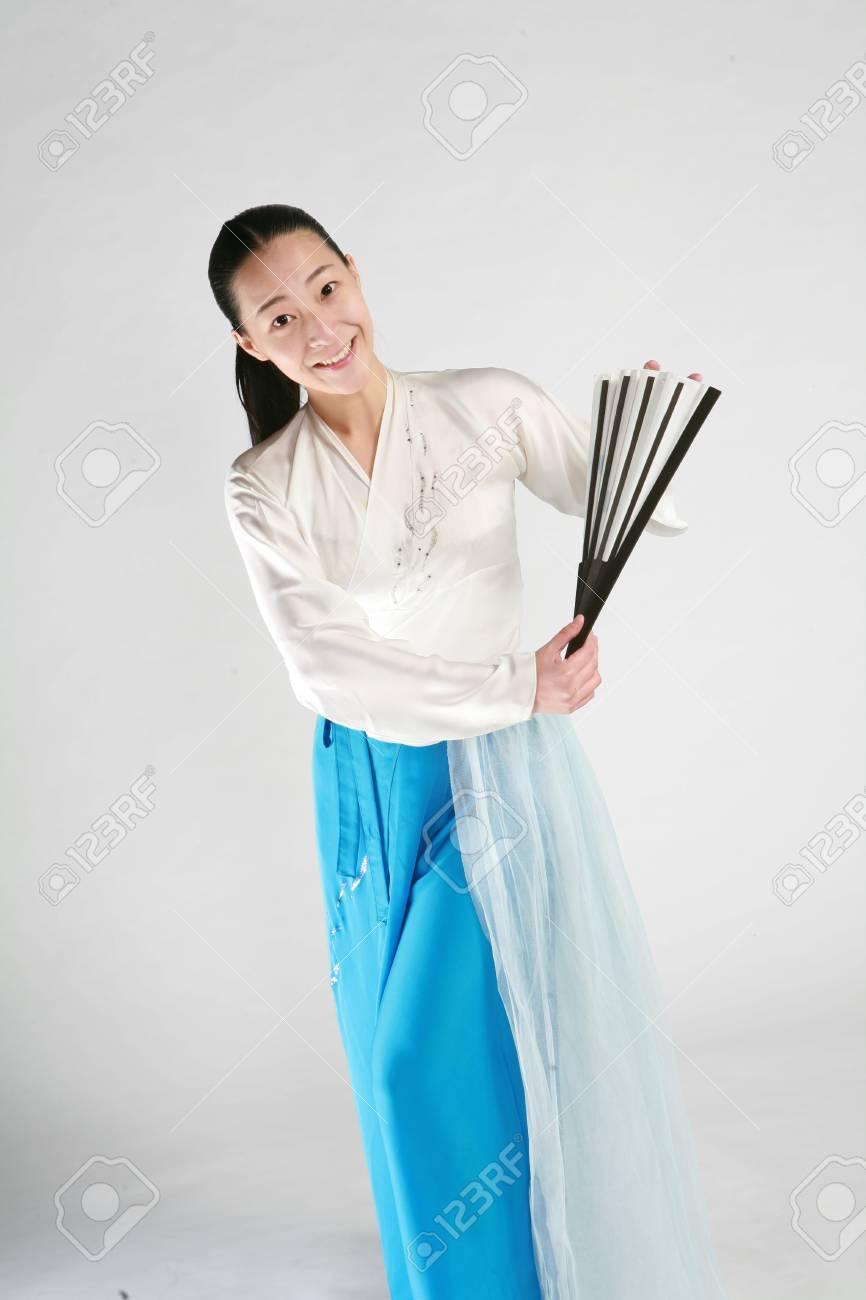 Beautiful Korean Female Dancer In White Korean Traditional Dress