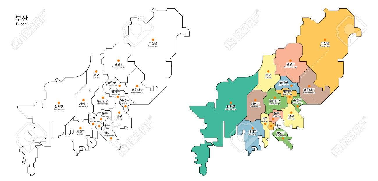 Map Of District BusanPusan City South Korea Royalty Free - Busan map
