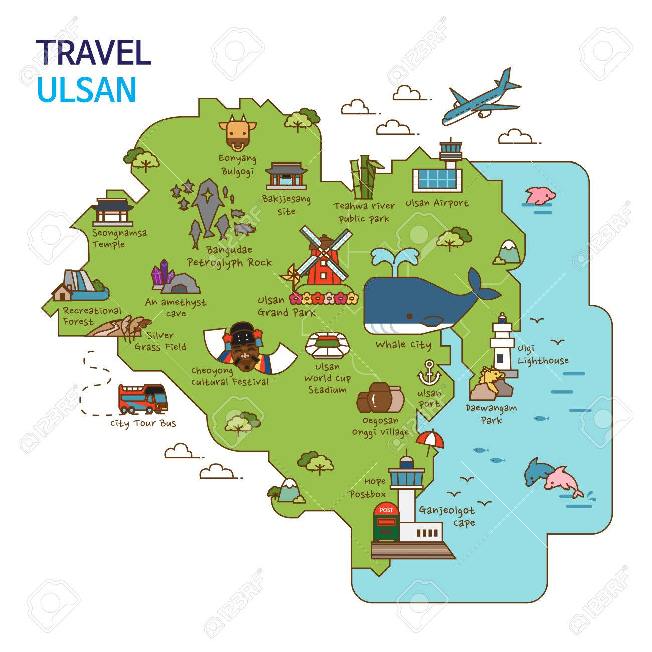 City Tour Travel Map Illustration Ulsan City South Korea