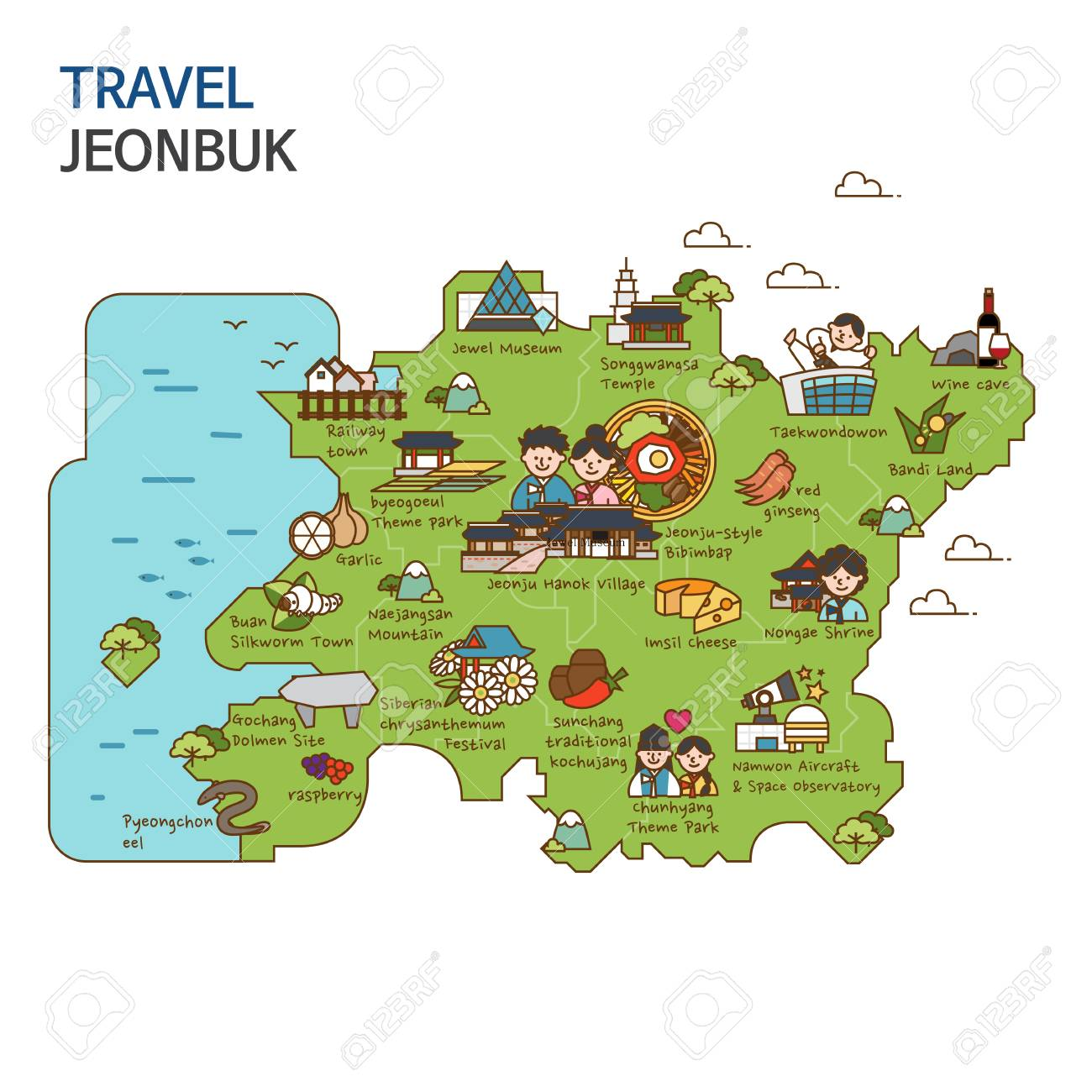 City Tourtravel Map Illustration Jeonbuk Province South Korea