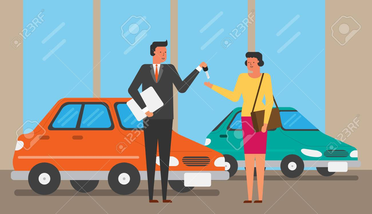 illustration of life with automobile car vehicle sales sell buy