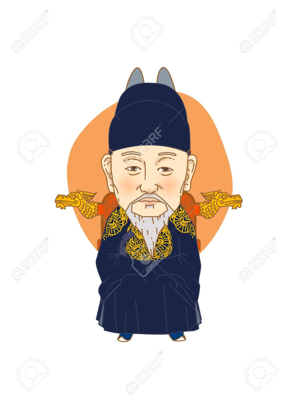 Famous historical figures caricature isolated in white - Korean,