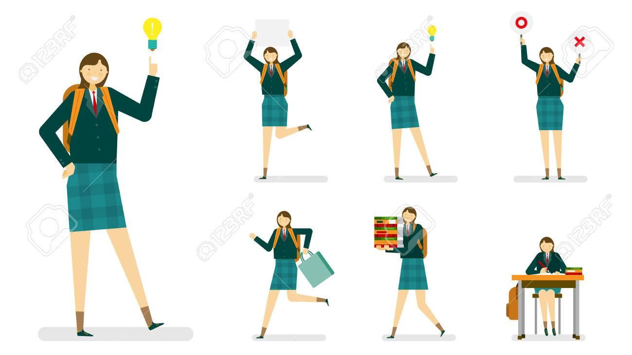 専門職アイコン セットアンサンブル イラスト 女の子 制服の女子