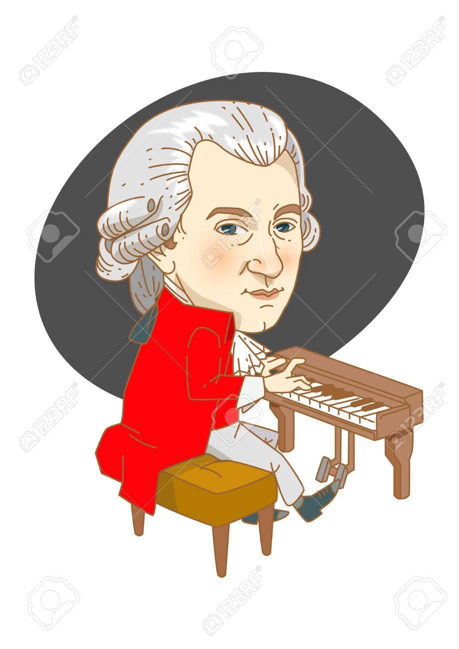 有名な歴史上の人物の似顔絵白 モーツァルトの分離のイラスト素材