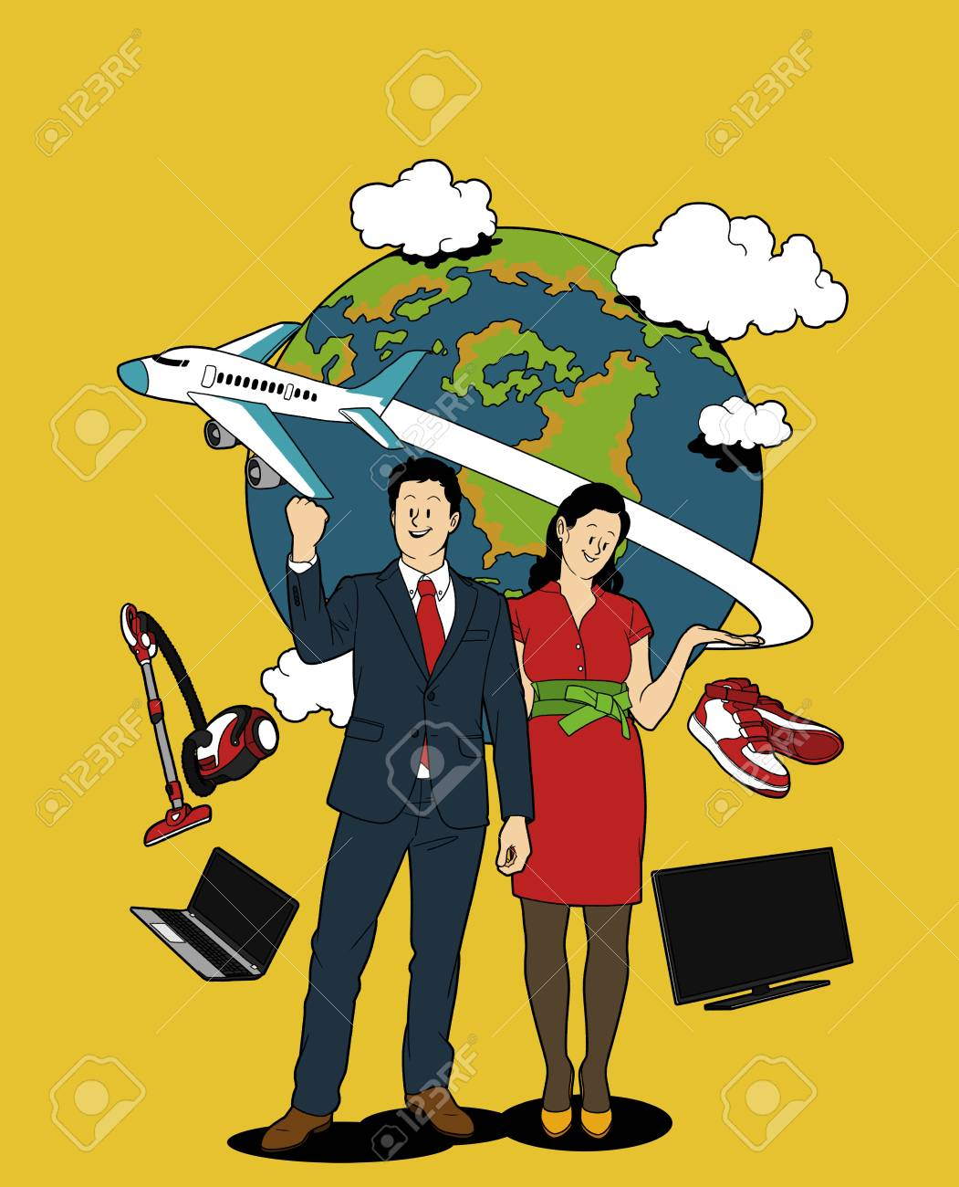 Various service business isolated in yellow illustration - Infomercial,TV