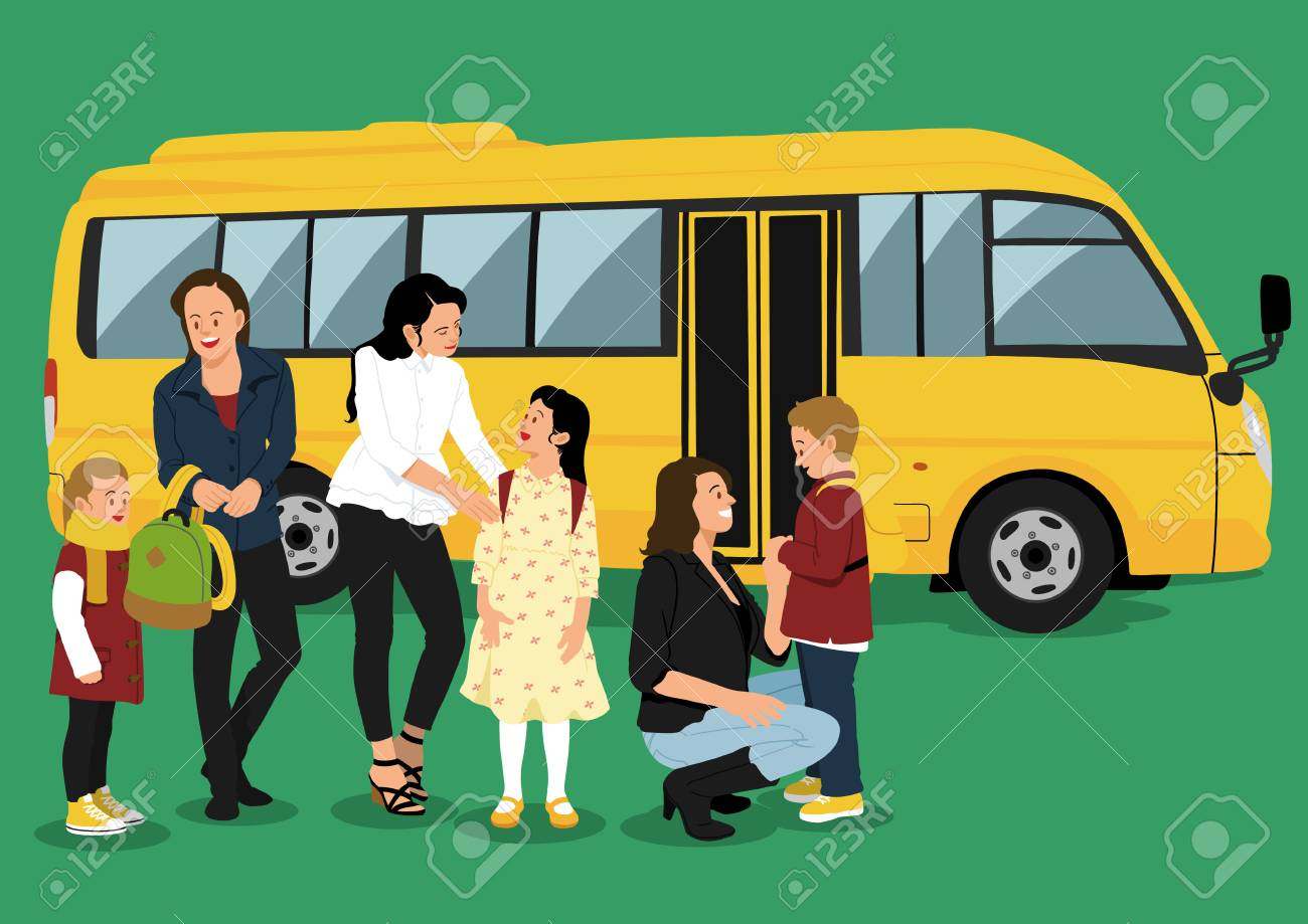Illustration of people in line - School bus - 84907464