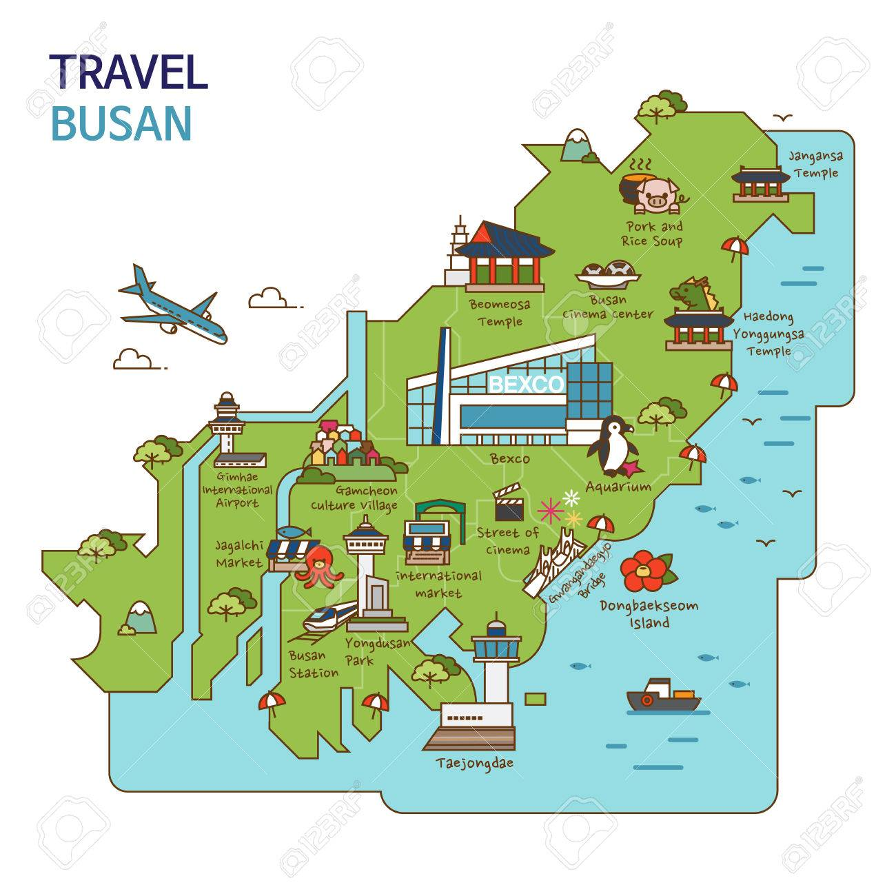Subway Map Of Busan.City Tour Travel Map Illustration Busan Pusan City South Korea