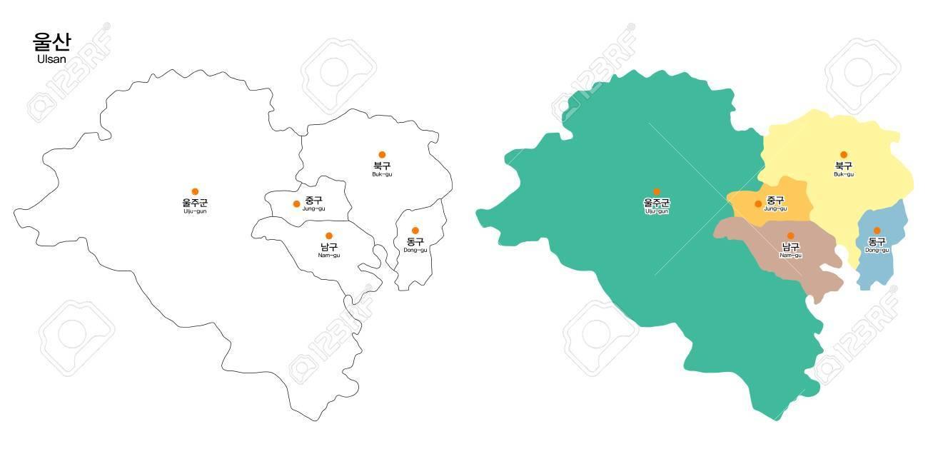 Ulsan Korea Map.Map Of District Ulsan City South Korea Royalty Free Cliparts