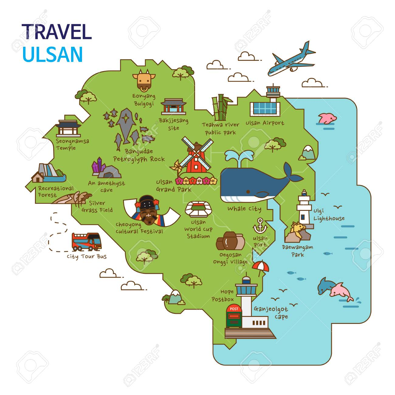 Ulsan Korea Map.City Tour Travel Map Illustration Ulsan City South Korea Royalty