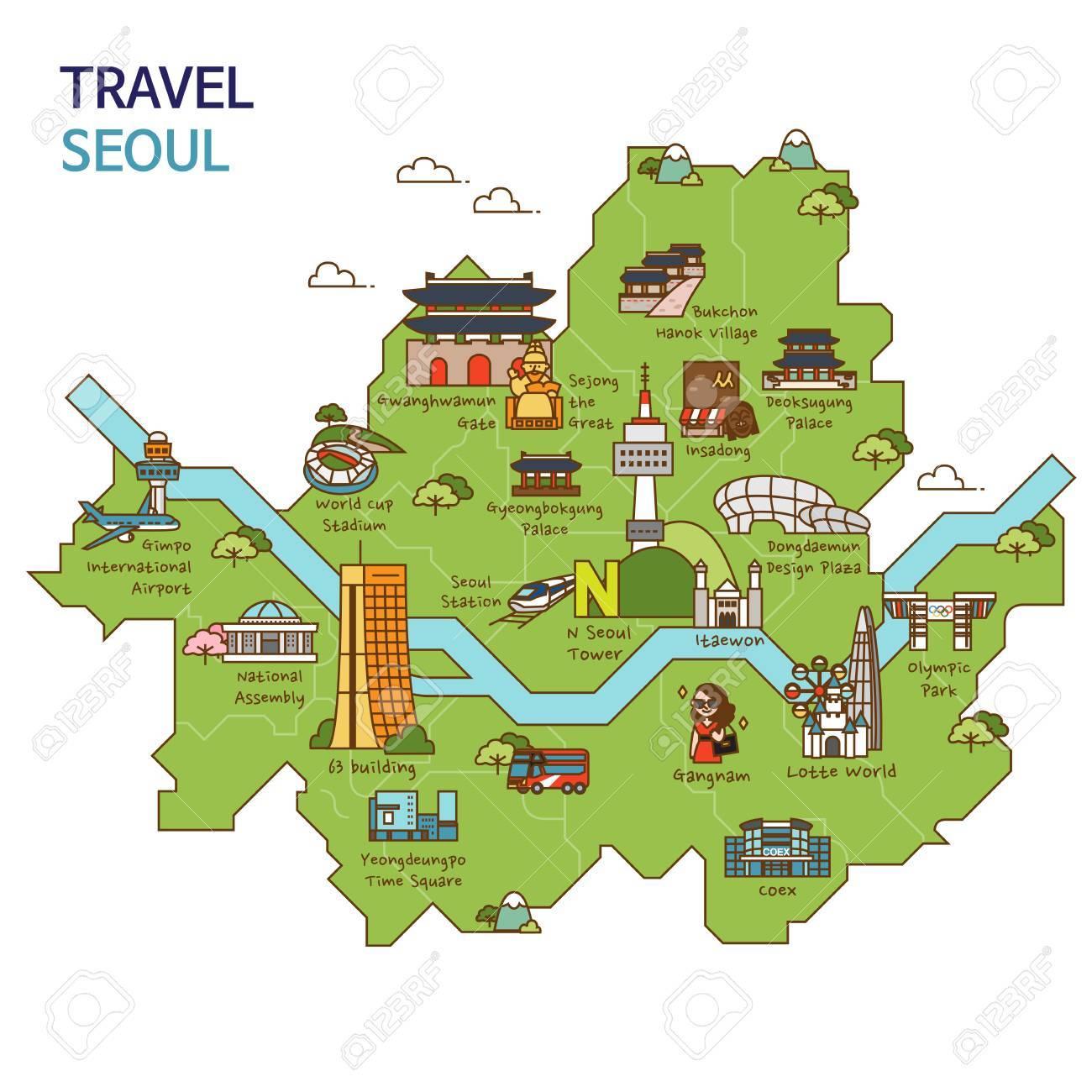 市内観光旅行地図イラスト 韓国ソウル市のイラスト素材ベクタ