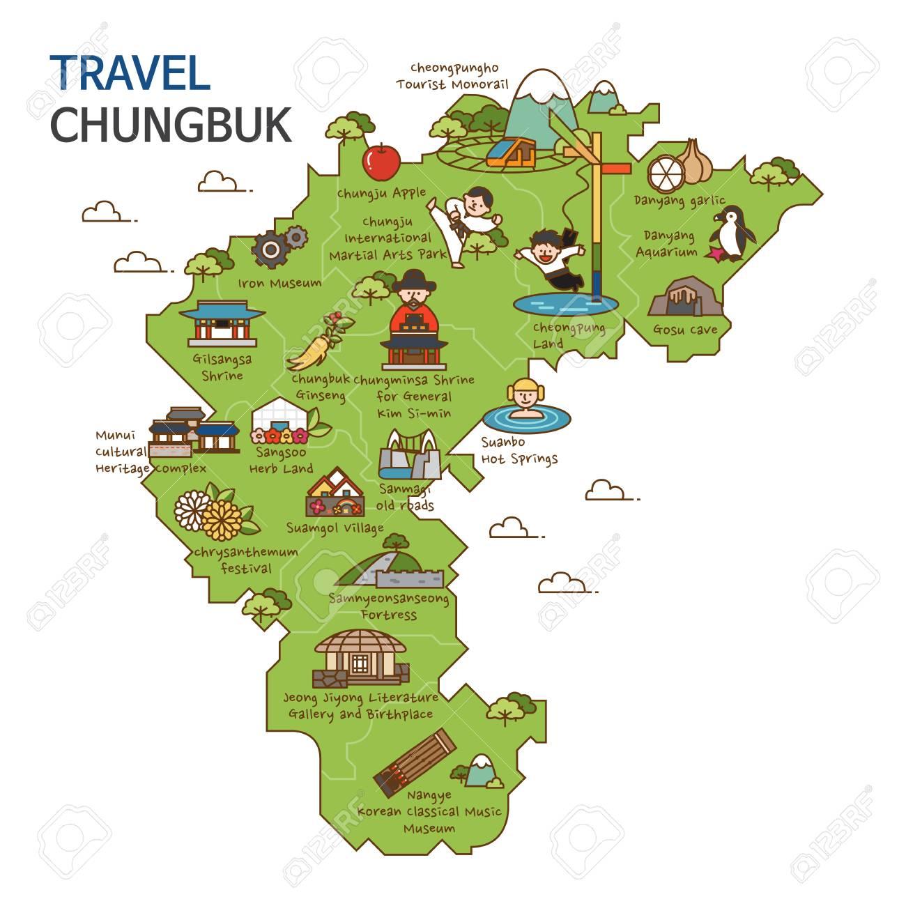 city tourtravel map illustration chungbuk province south korea stock vector 84866335