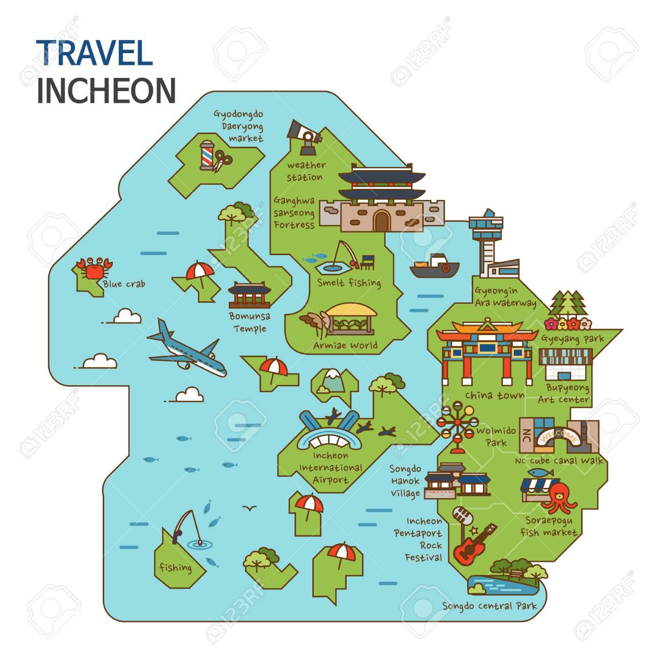 Ulsan Korea Map.City Tour Travel Map Illustration Incheon City South Korea