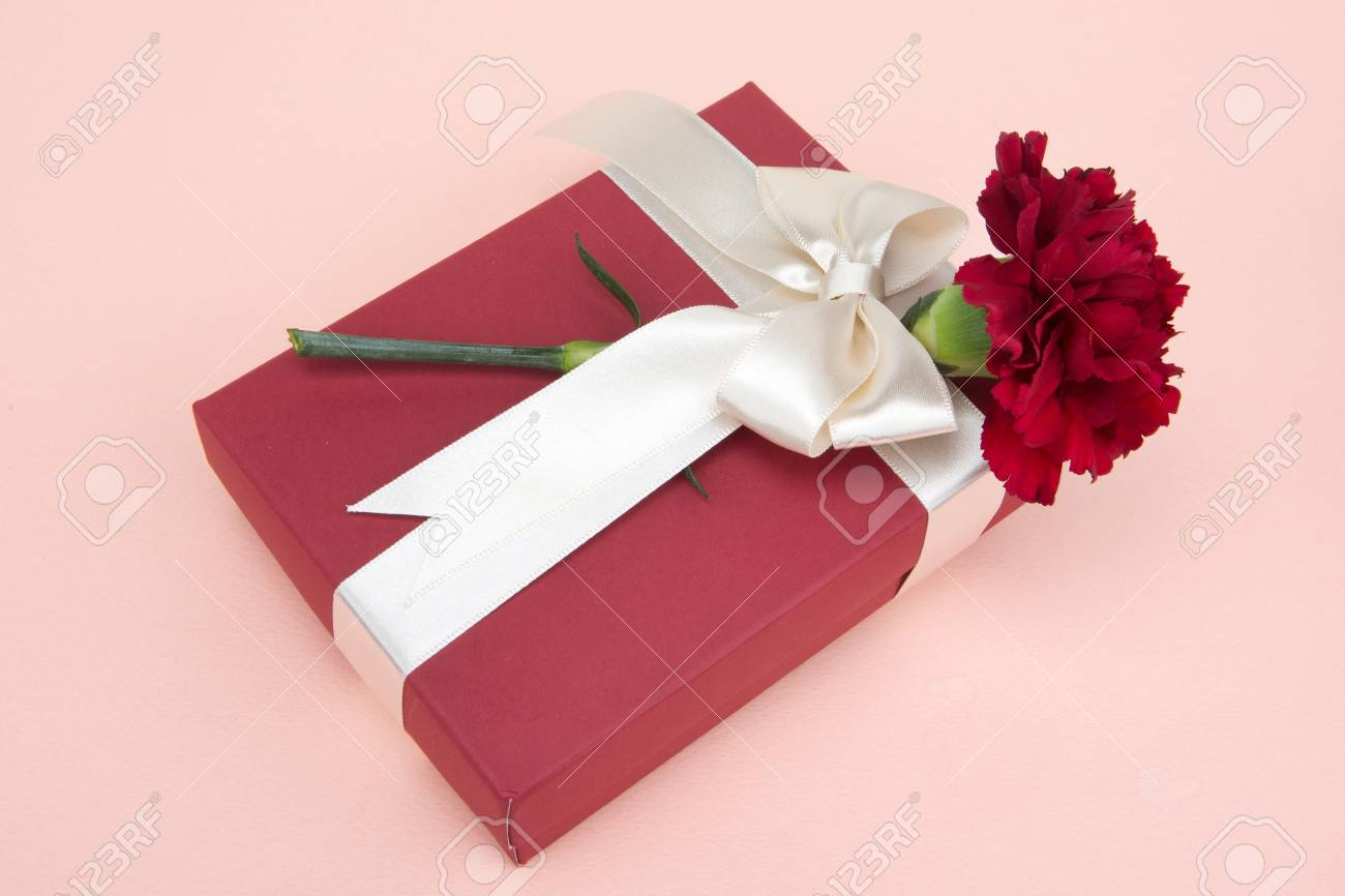 Gift Ideas Shot In Studio - Carnations And Gift Box With Ribbon ...