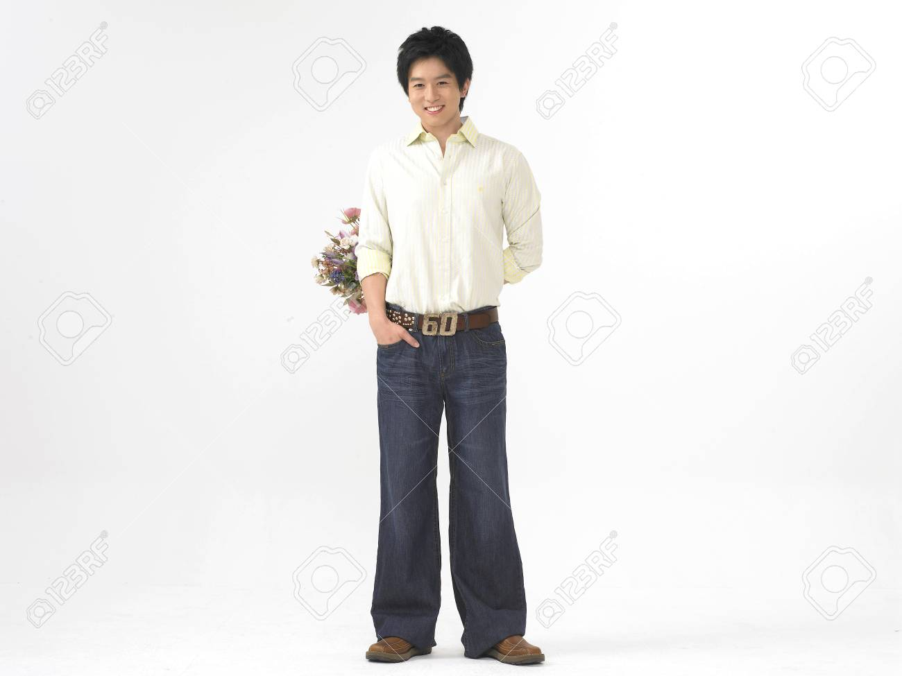 Asian Model Young Men Fashion Isolated In White Wearing Business