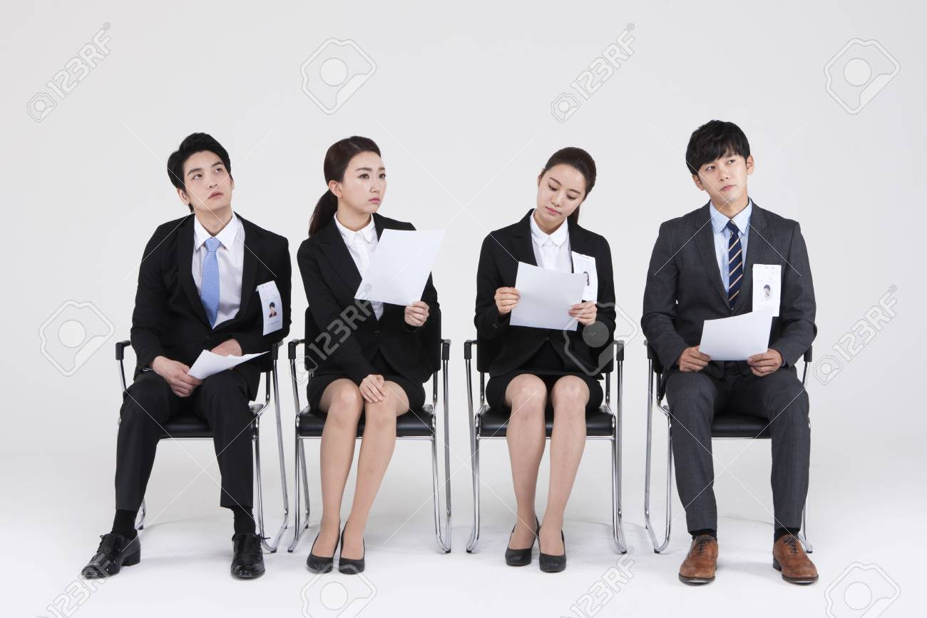 Asian people waiting for job interview isolated on white - 87238881