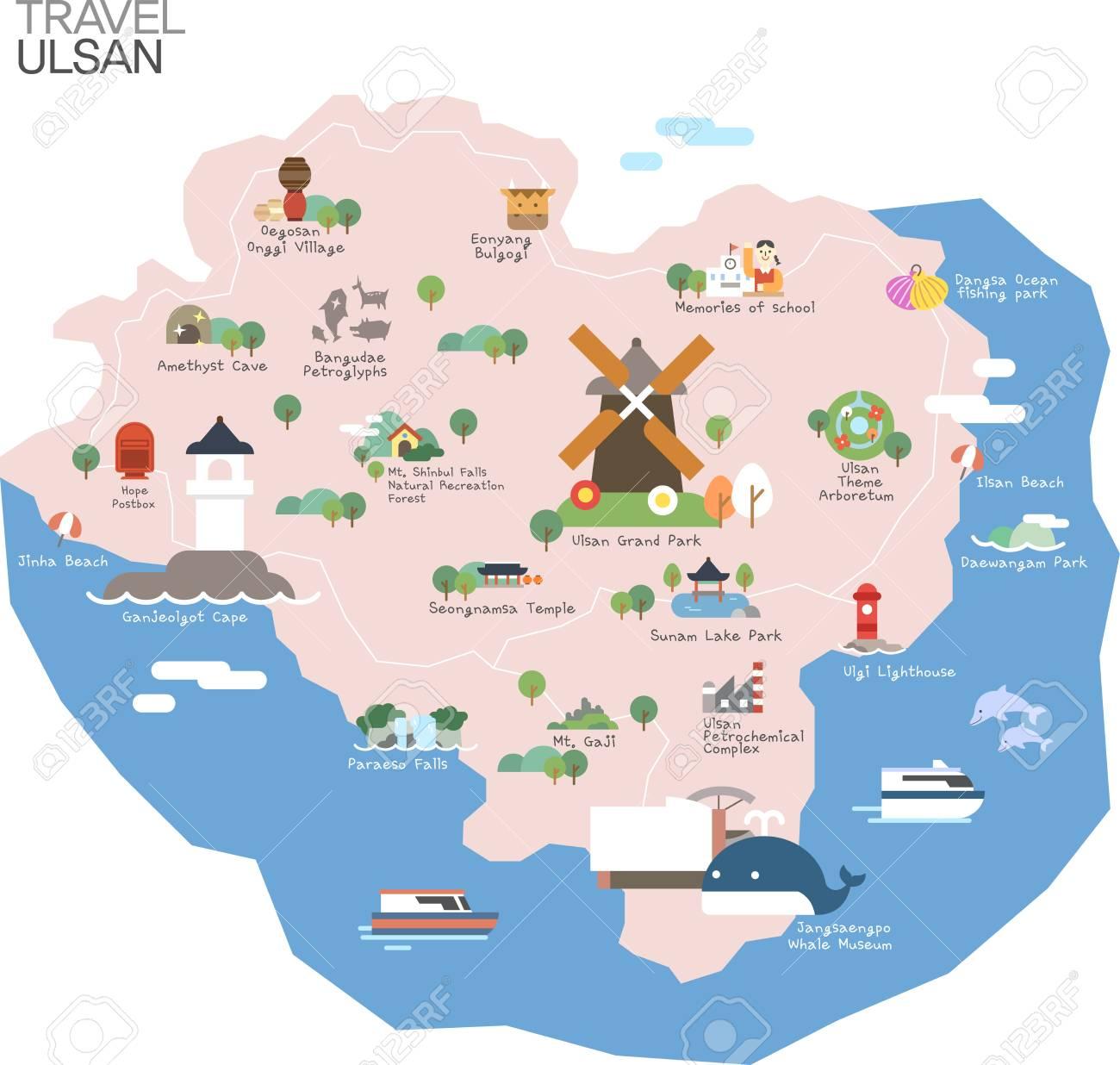 Ulsan Korea Map.Map Of Korea Ulsan With Tour Attraction Royalty Free Cliparts