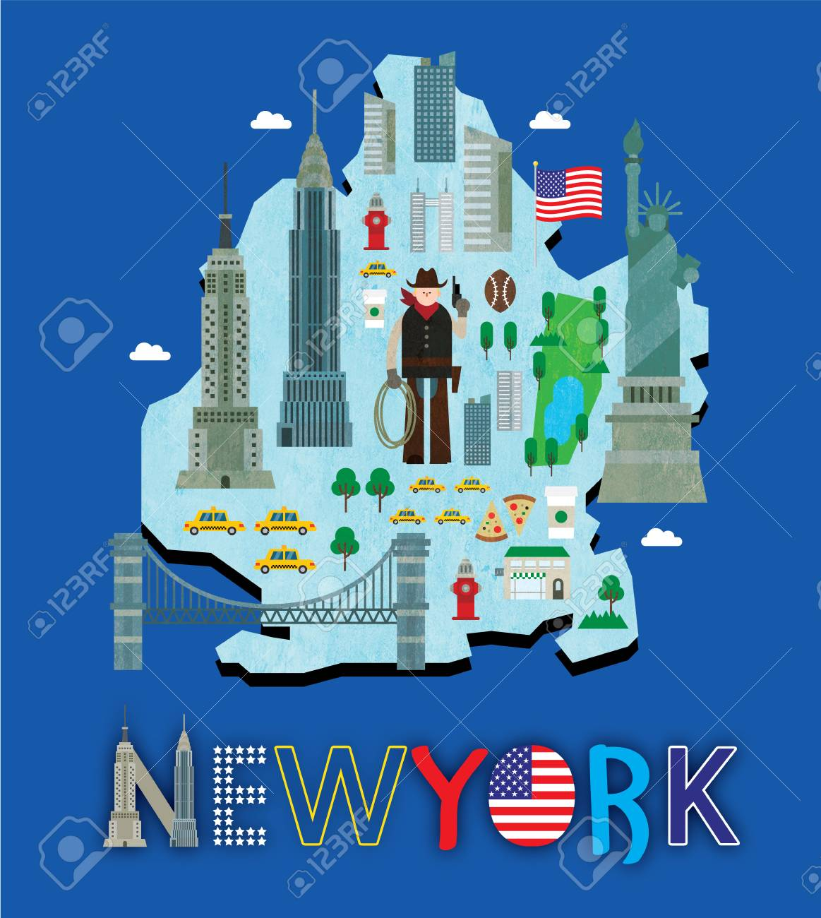 Map Of New York Tourist Spots.New York Map With Tourist Attraction