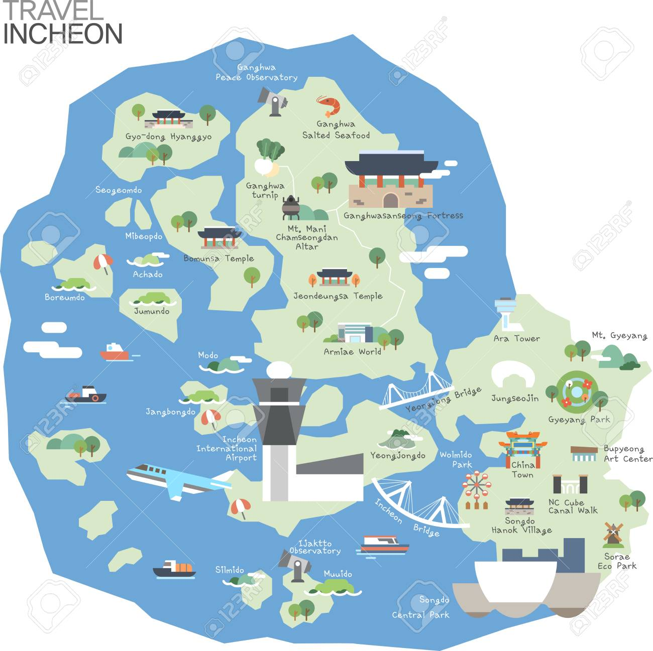 Map Of Korea Incheon With Tour Attraction Royalty Free Cliparts