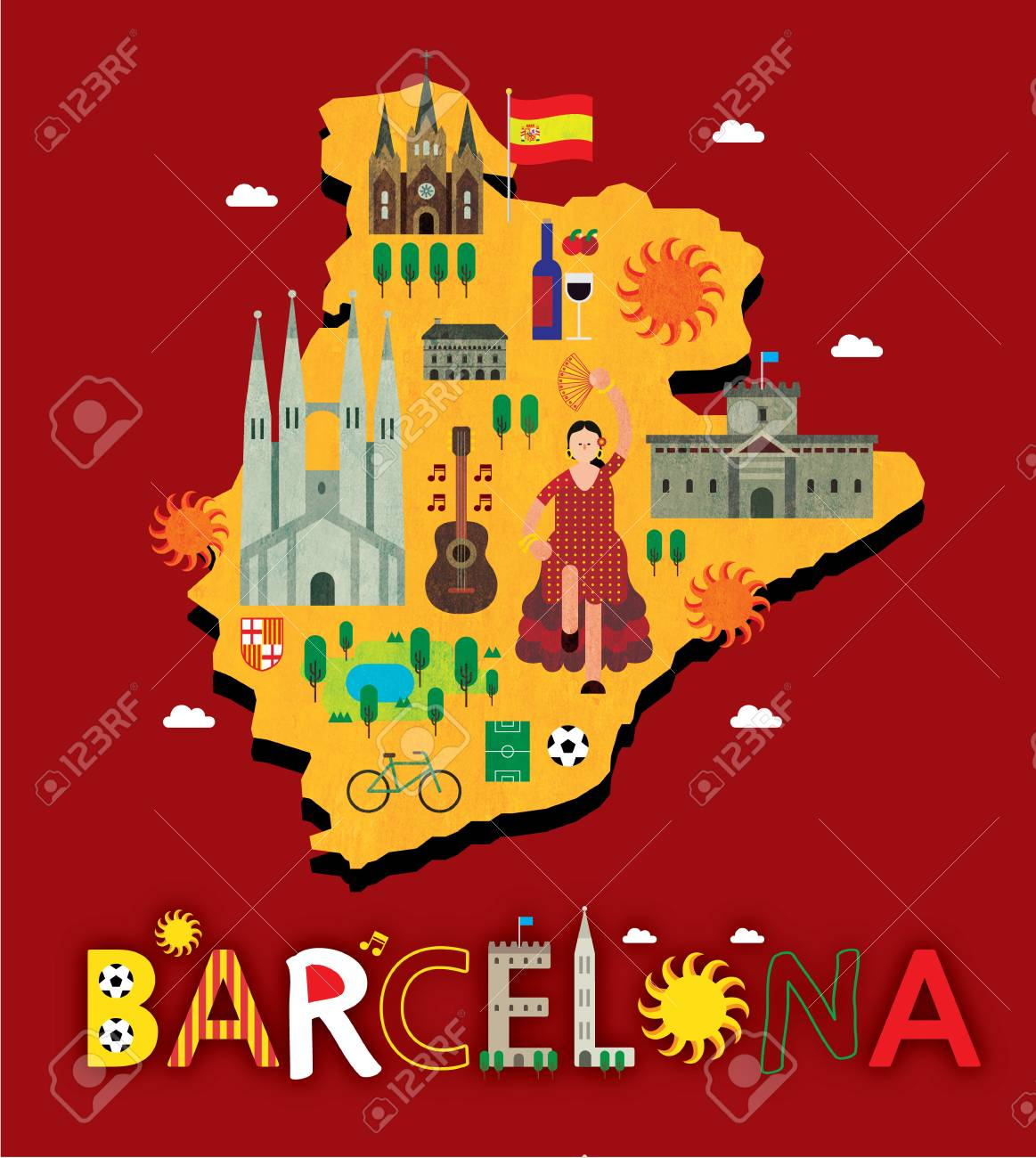 barcelona map with tourist attraction stock vector 90415261