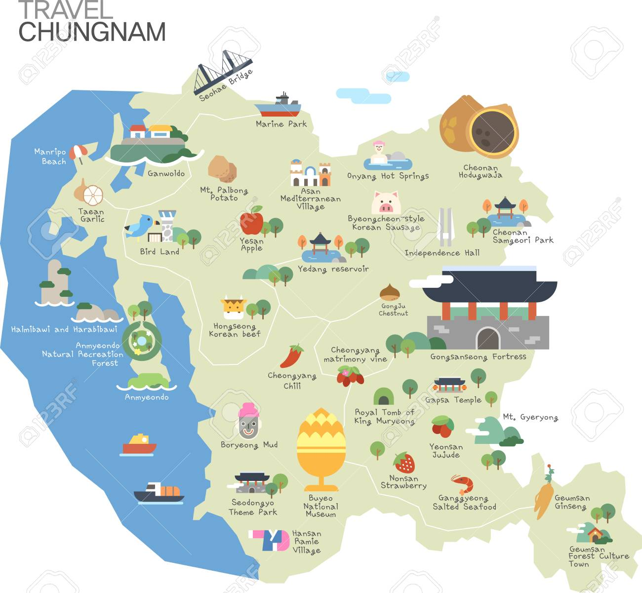 Map of Korea Chyngcheongnamdo with tour attraction