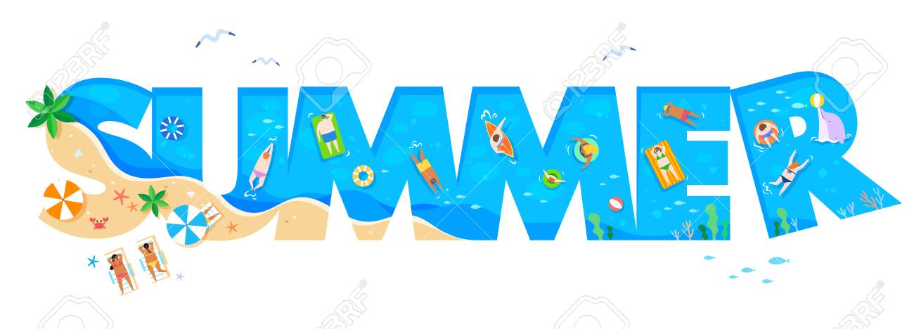 summer word beach font vector illustration royalty free cliparts