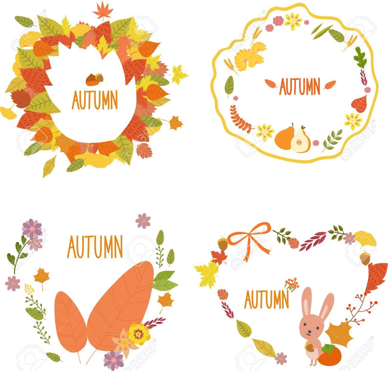 autumn flower wreath template vector illustration royalty free