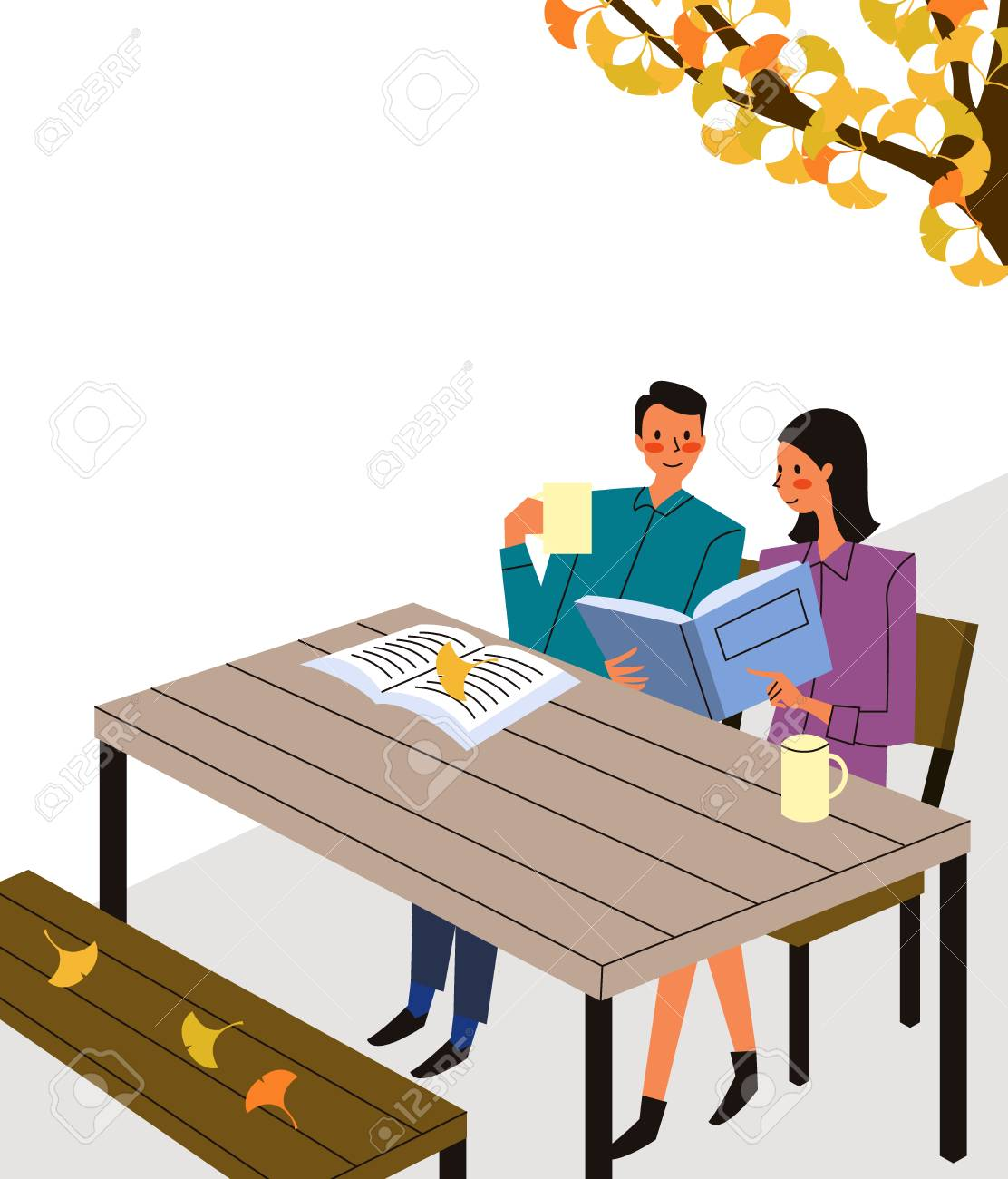 Couple reading book in outdoor cafe, vector illustration. - 90833488