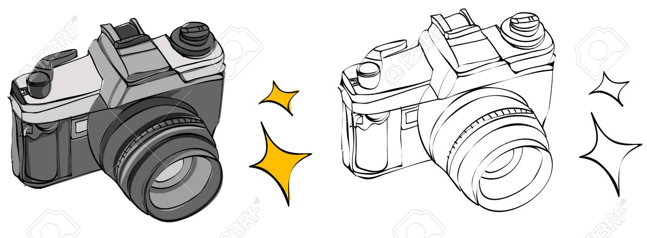 Vintage Style Hand Drawn Camera Royalty Free Cliparts Vectors And