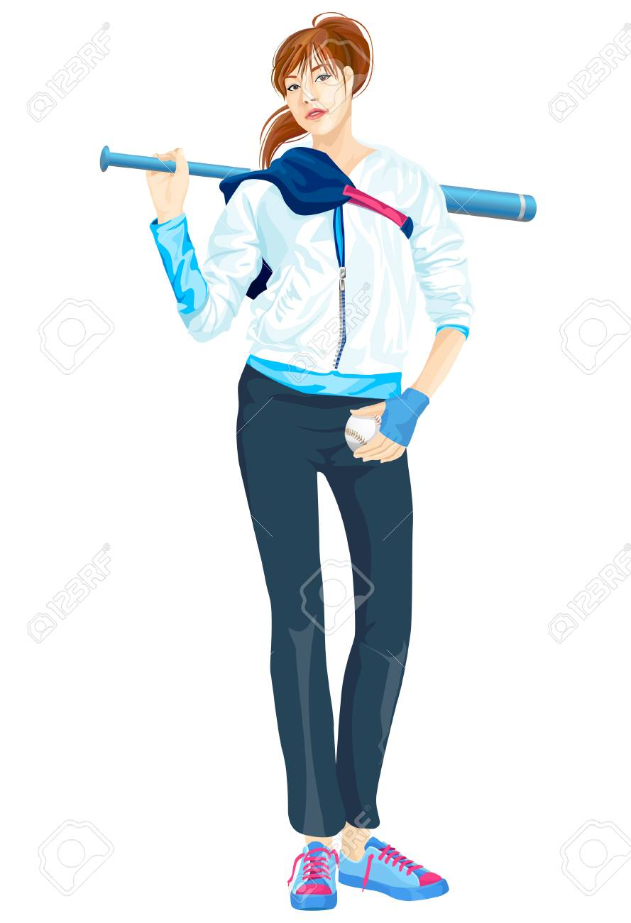 sporty woman holding baseball and bat royalty free cliparts vectors rh 123rf com Baseball Player Vector Baseball Ball Vector