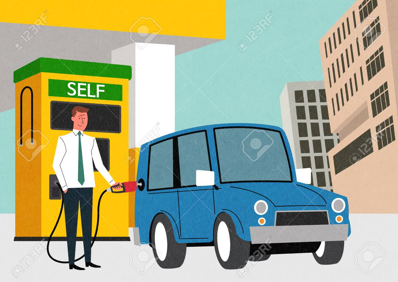 Traffic Safety 001; Man Putting Gas On His Car; Self Service ...