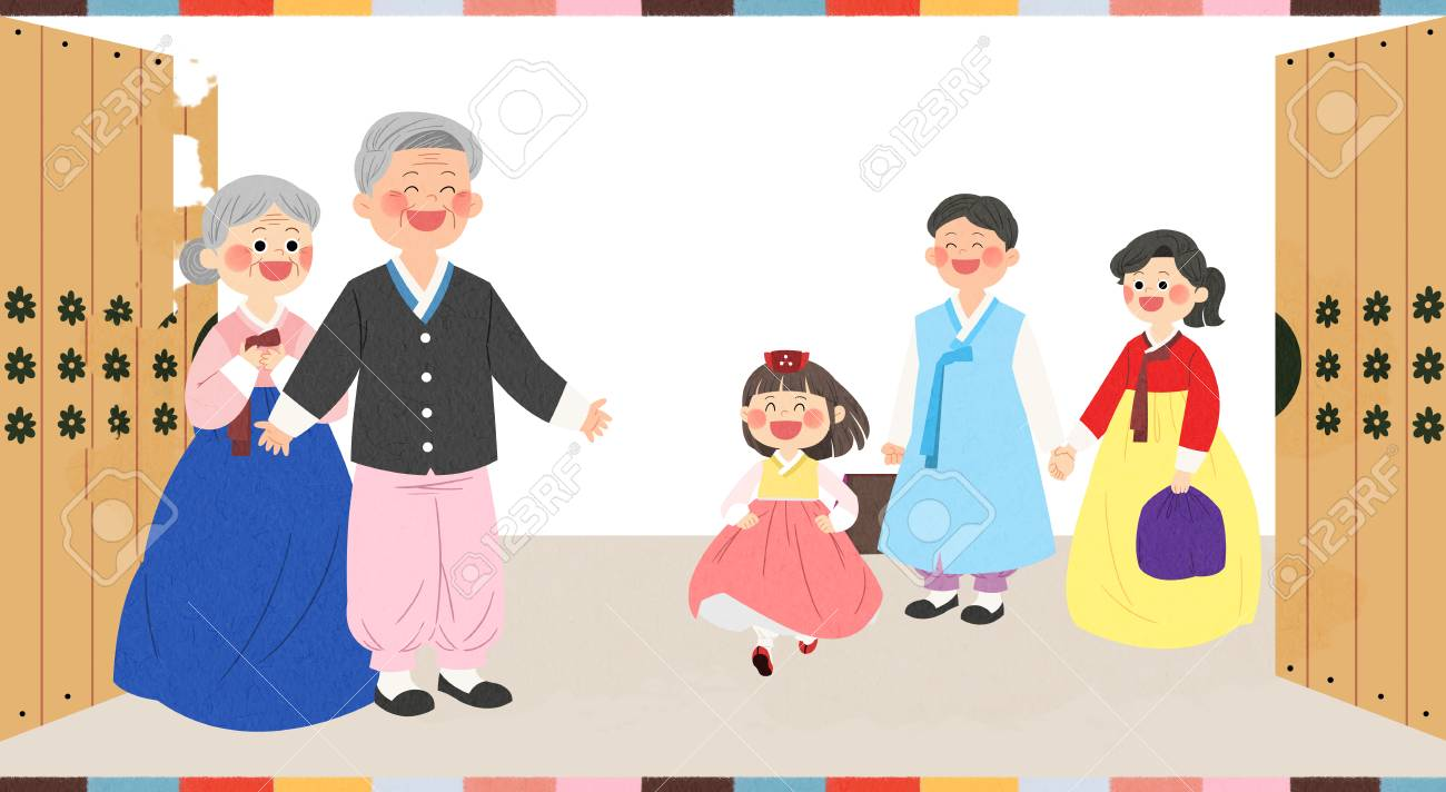 in chuseok spending time with family royalty free cliparts