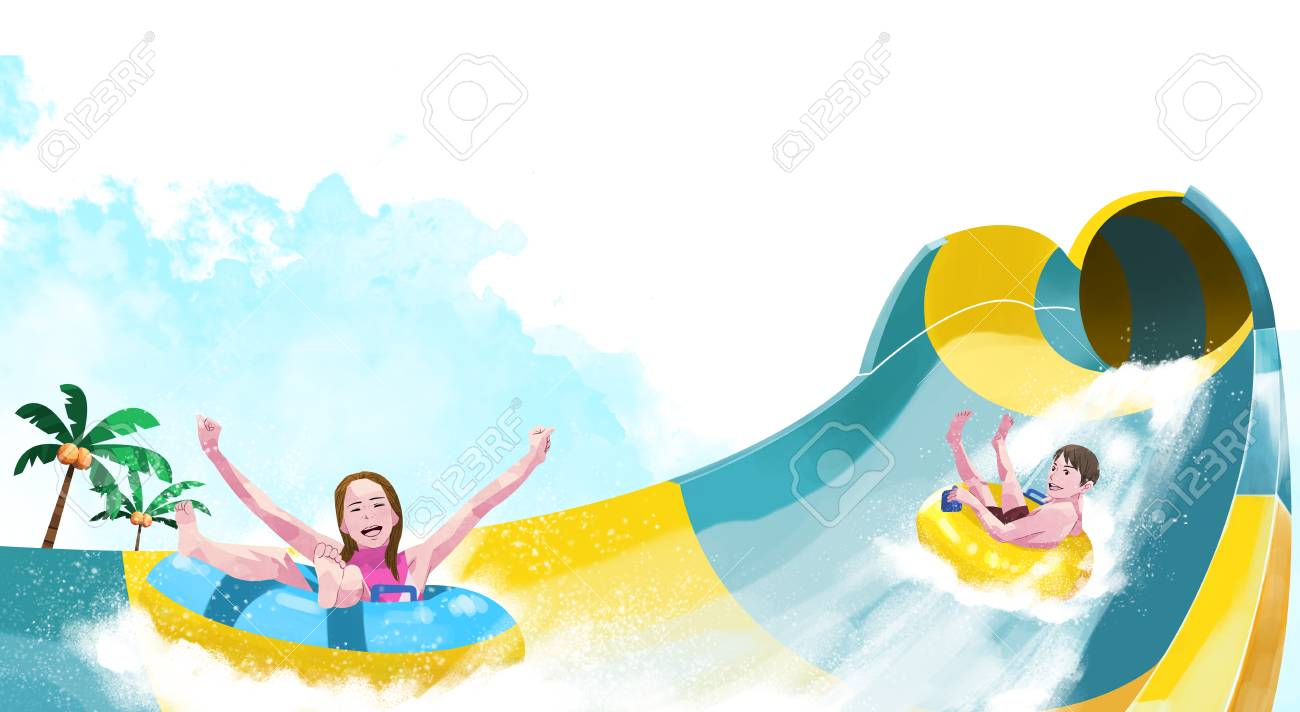 Ways To Enjoy At The Water Park Water Slide Royalty Free Cliparts Vectors And Stock Illustration Image 94029688