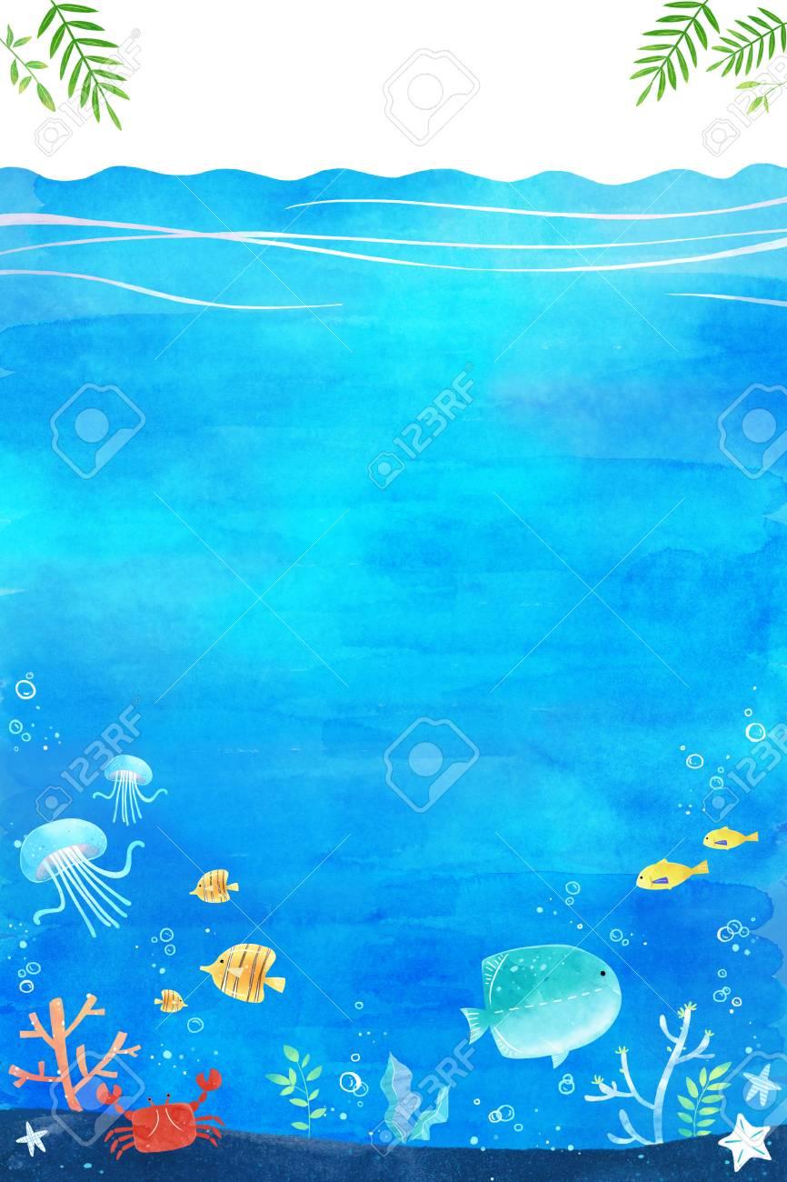 undersea world- blue sea landscape background vector illustration, frame design - 94029954