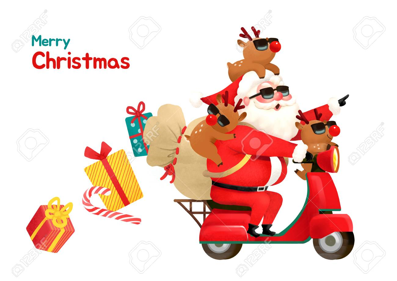 present delivery santa claus concept vector illustration christmas and new year banner 001 stock