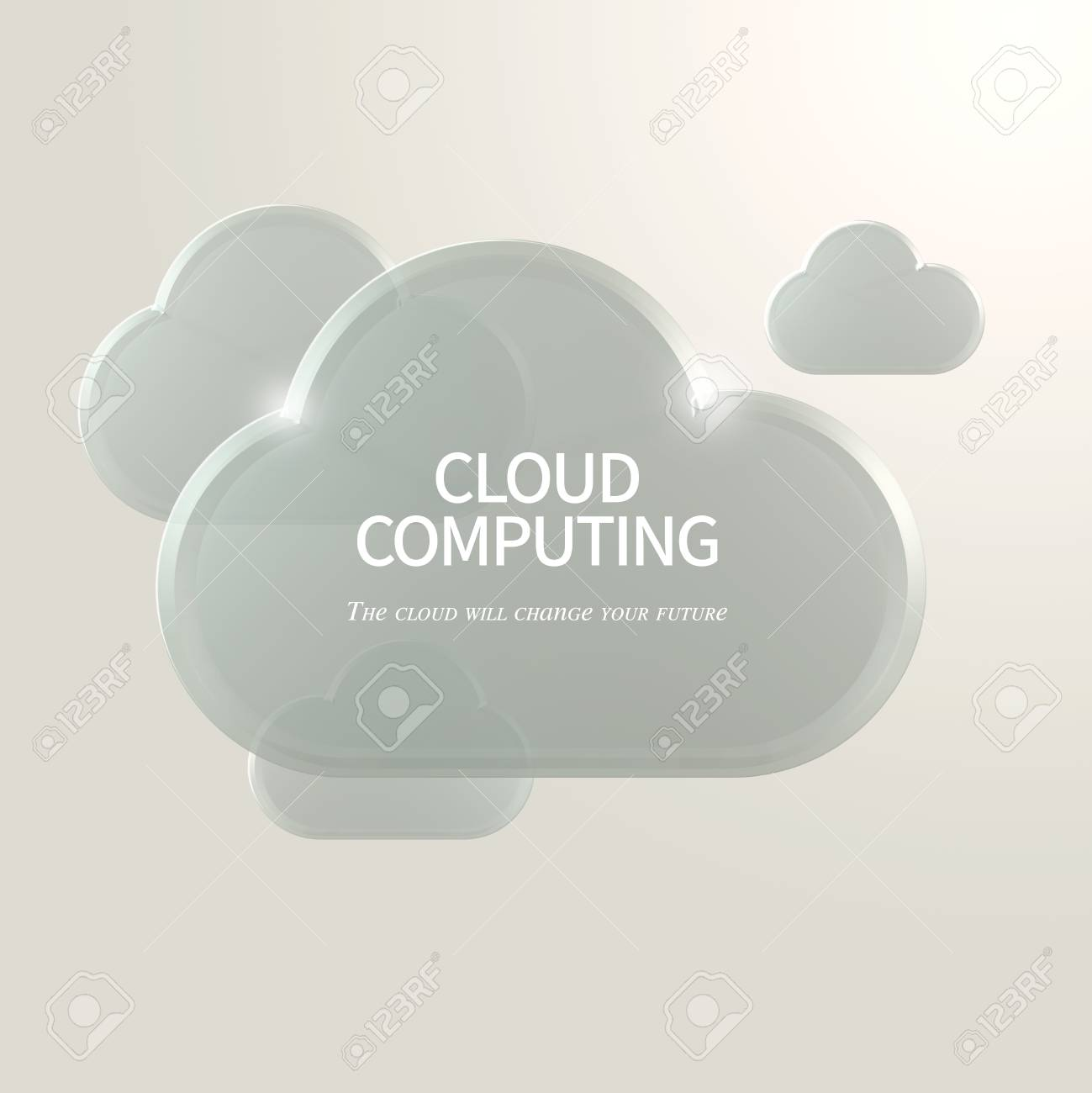 Cloud Computing Concept Virtual Cloud Symbol Over White