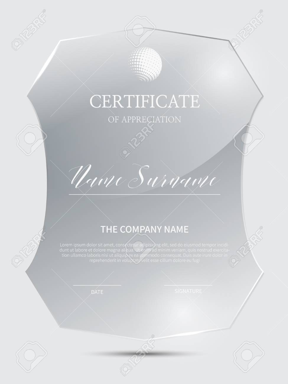 Certificate Frame Background With Glass Material Lizenzfrei Nutzbare