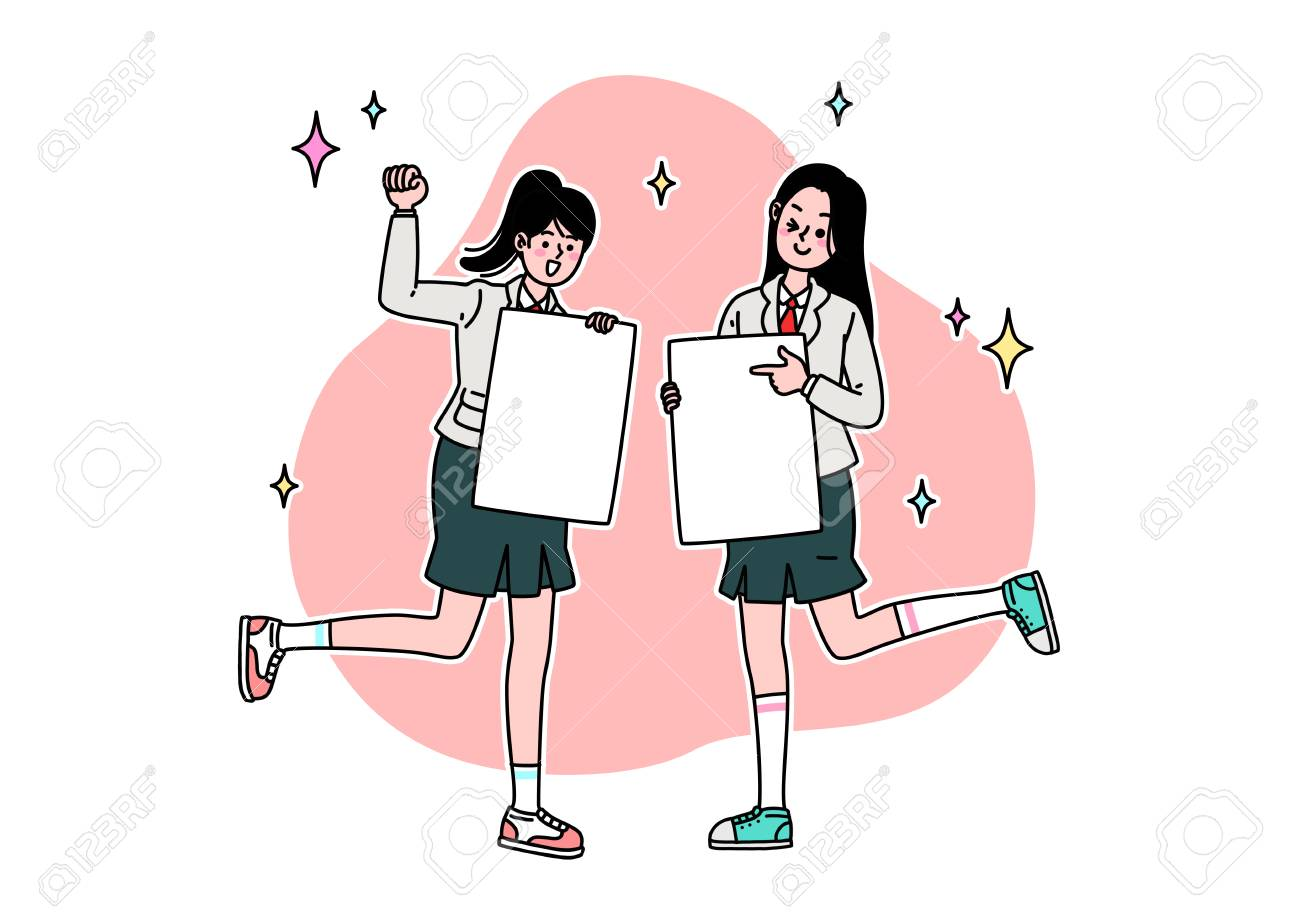 School life cartoon. Teenagers, middle and high school students - 111929873