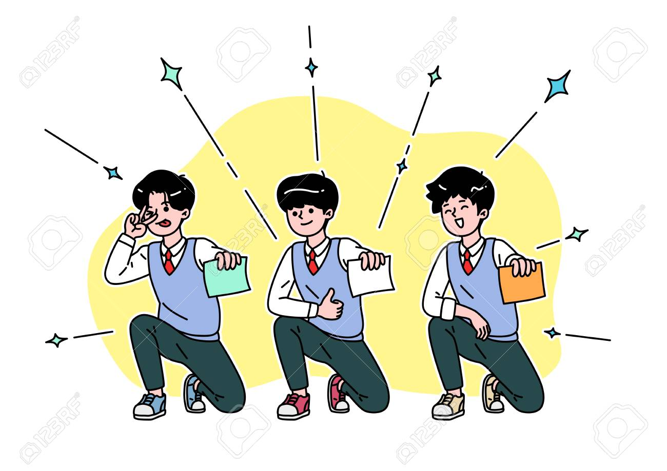 School life cartoon. Teenagers, middle and high school students - 111929643