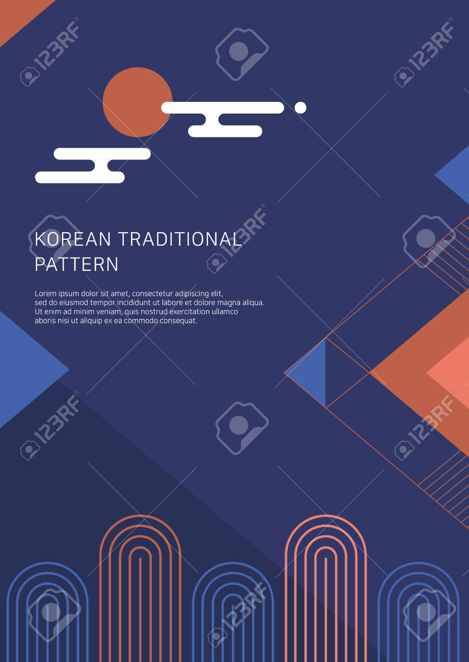 2019 new year poster, banner, and brochure design. Korean traditional background vector illustration. - 113949893