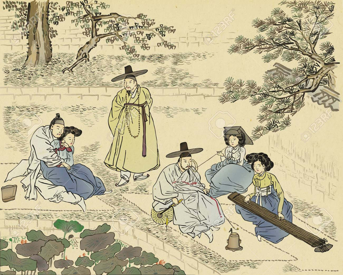 Traditional Korean Painting. Life Of Ordinary People Painting ...