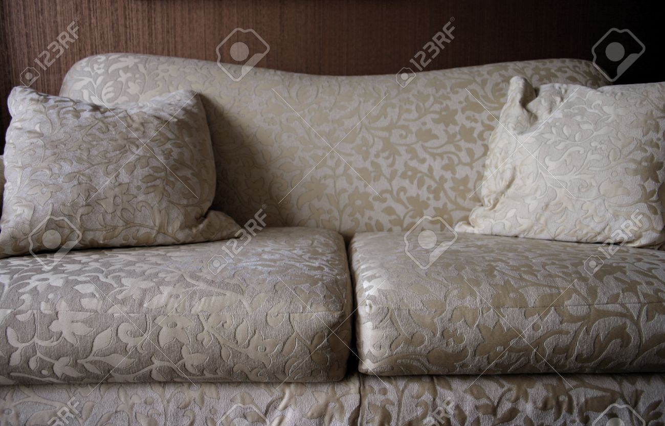 Detail Of Neutral Patterned Sofa In Living Room Stock Photo ...