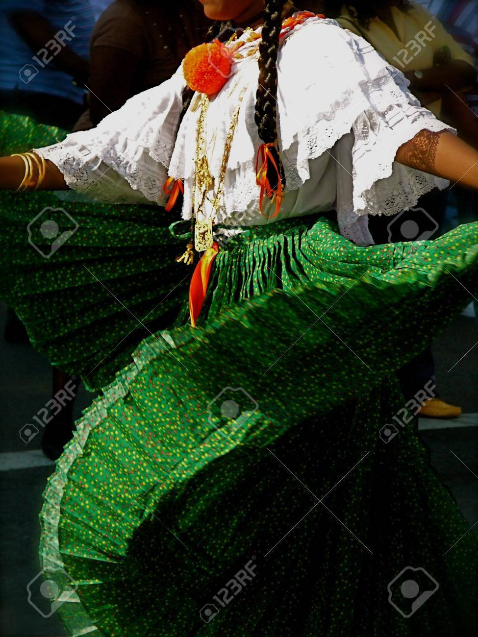 Traditional Folk Dancer in Green Pleated Skirt Performs in outdoor festival, Brooklyn, New York Stock Photo - 1831750