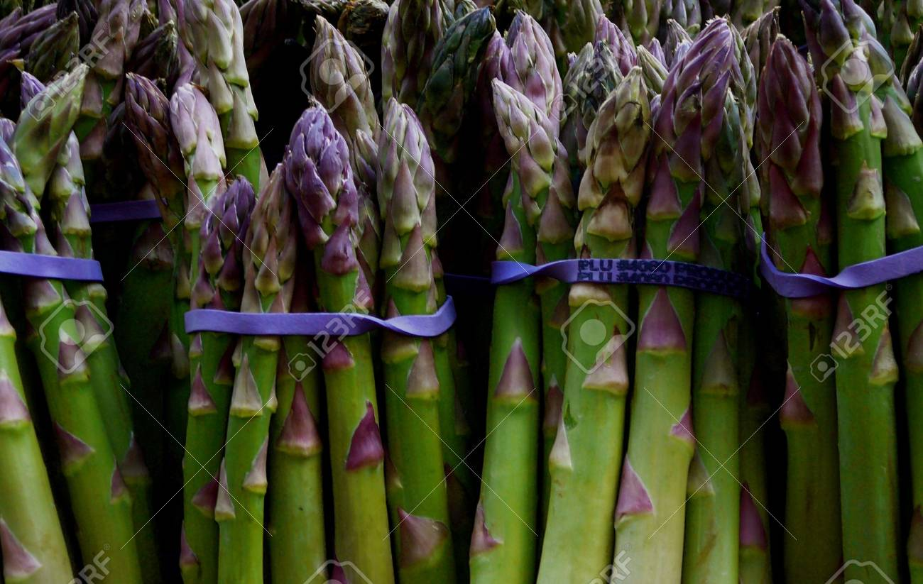 Colorful Organic Asparagus for Sale at Market - 1884441