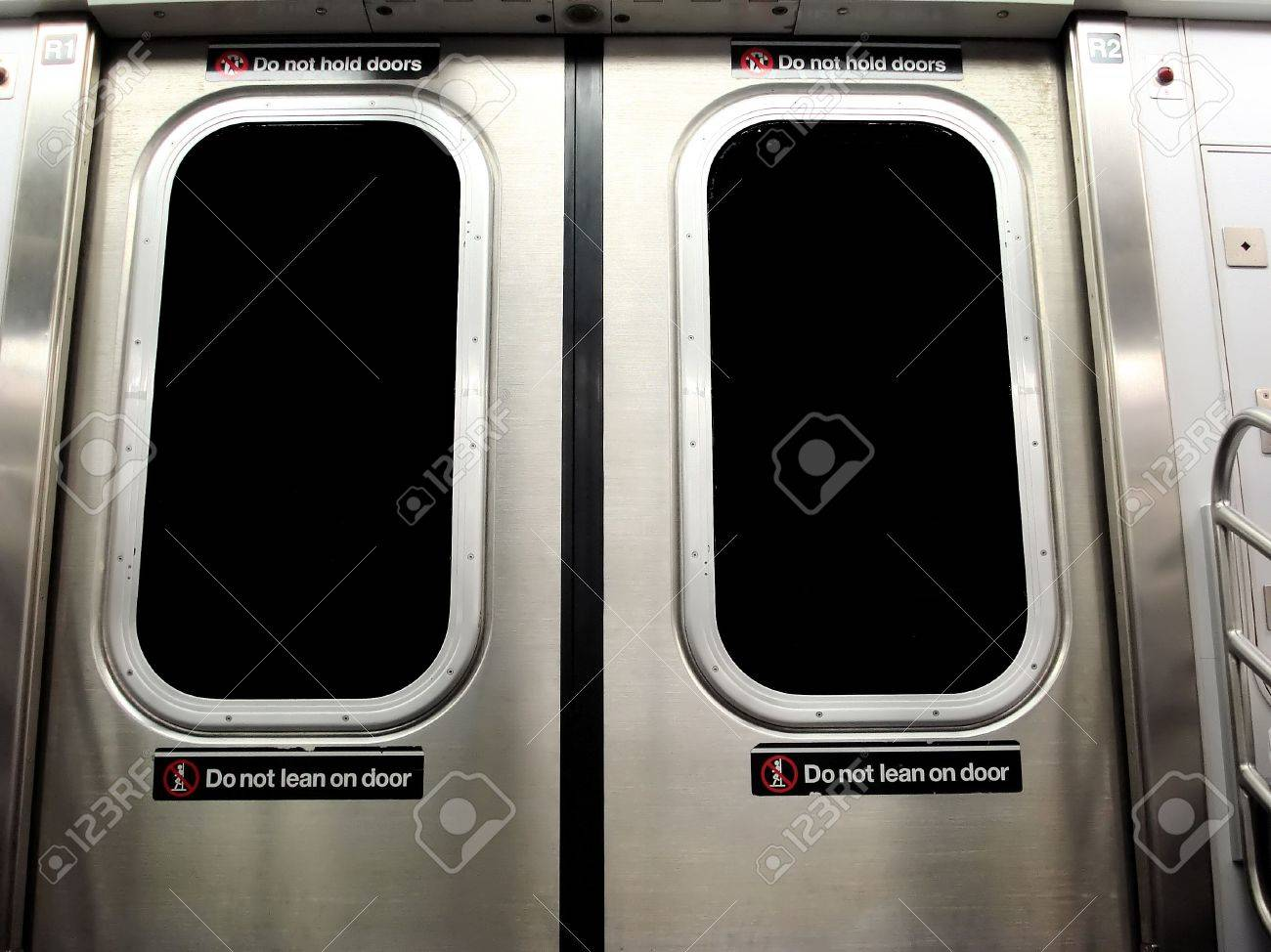 New York City Subway Train with Do Not Lean on Door Warning Sign Stock Photo - & New York City Subway Train With Do Not Lean On Door Warning Sign ...