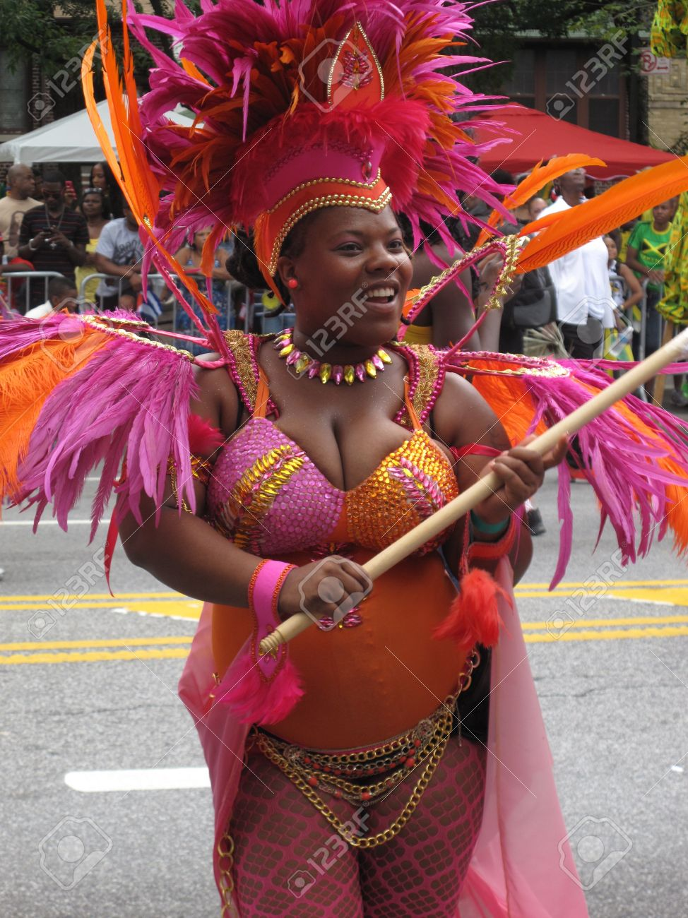 Dancer at the West Indian American Day Carnival and Parade, largest