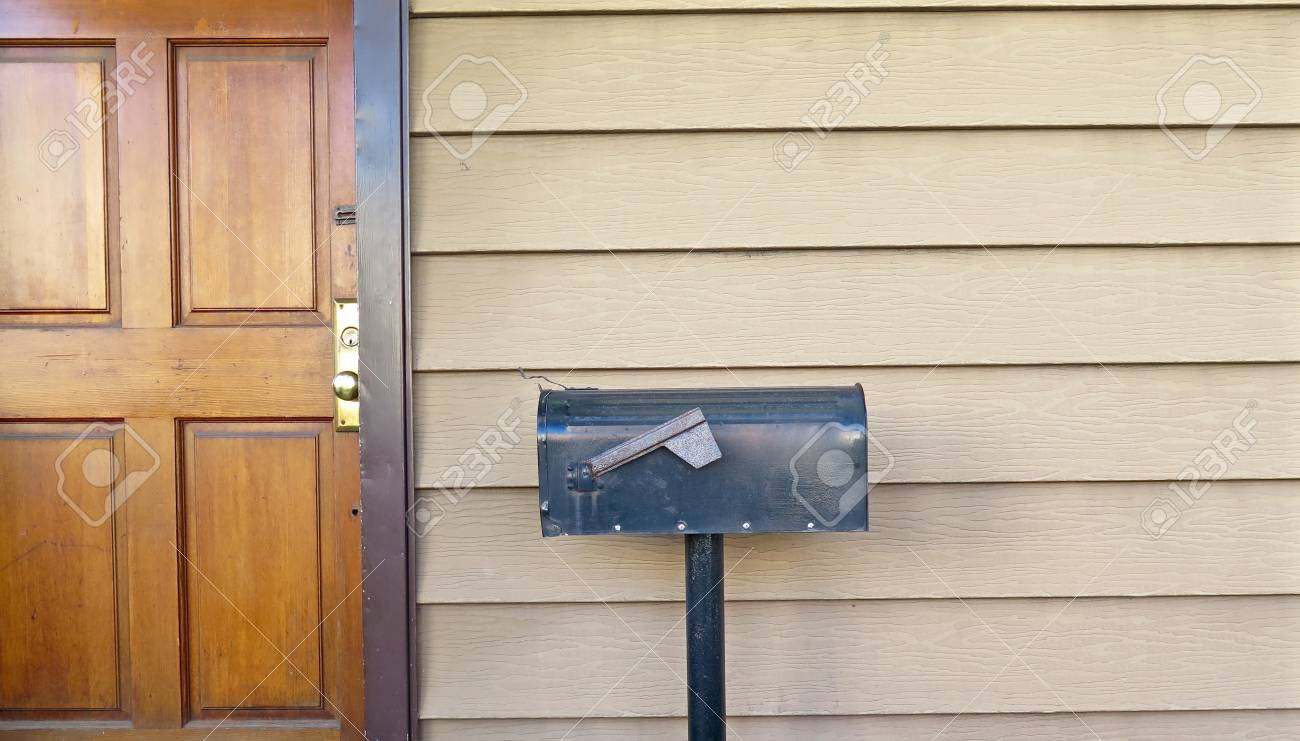 Black Metal Mailbox Outside Front Door Of Home Stock Photo   47602687